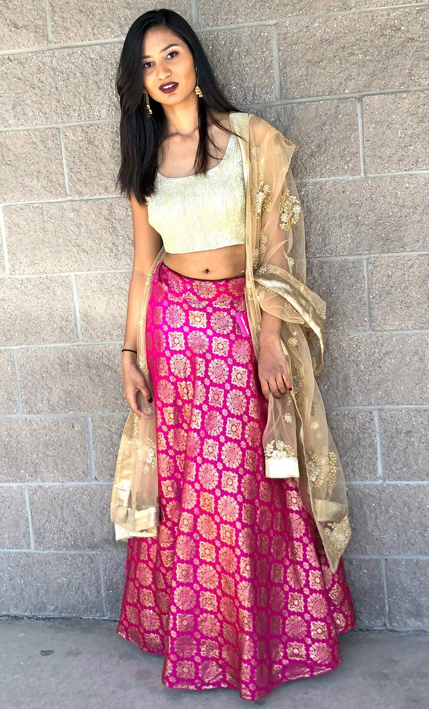 72a8bdc19a627 Banarasi Skirt-Pink
