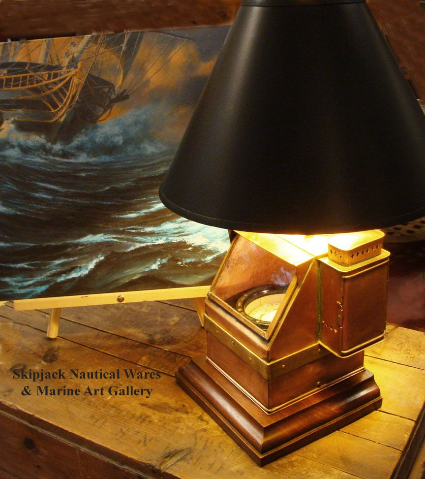 Wwii us navy copper and brass small boat binnacle converted wwii us navy copper and brass small boat binnacle converted years ago into a handsome nautical table lamp the interior dry card gimbaled compass is geotapseo Image collections
