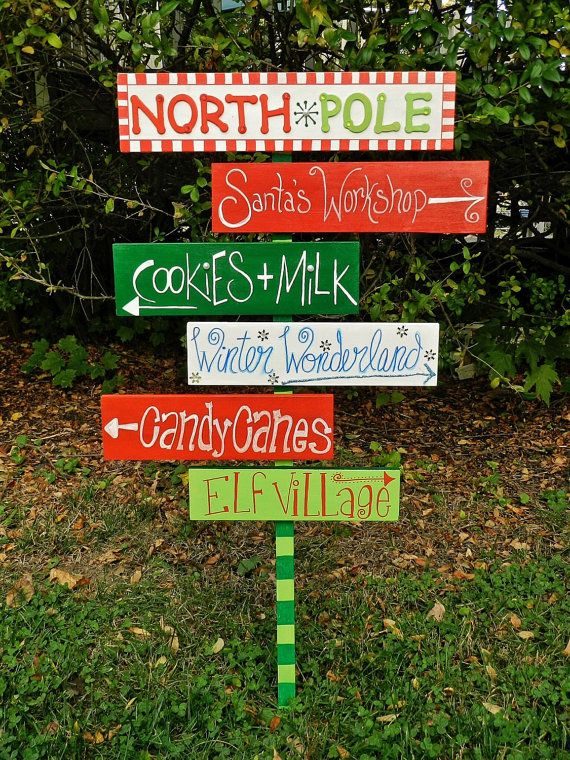 Christmas Outdoor Sign Wood North Pole