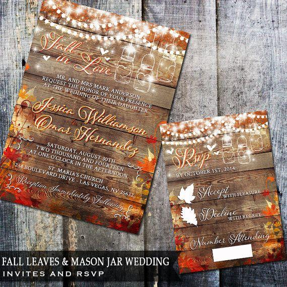Rustic Diy Fall Wedding: Fall In Love Rustic Wedding Invitation, Mason Jar Wedding