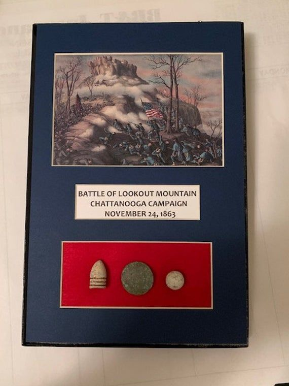 Civil War Battle of Lookout Mountain Matted Display with Relics
