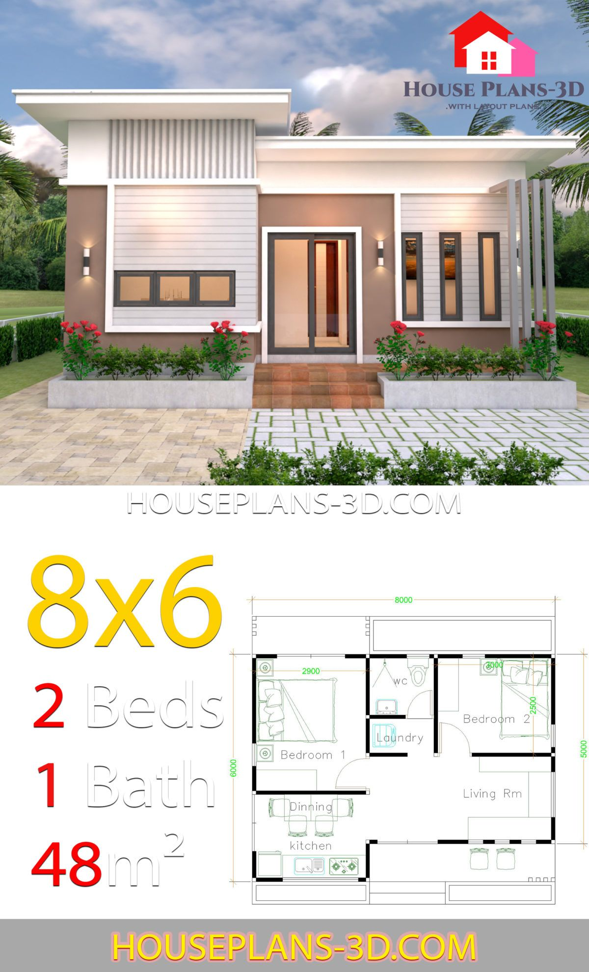 House Plans 8x6 With 2 Bedrooms Slope Roof House Plans 3d Arsitektur Rumah Indah Arsitektur Rumah