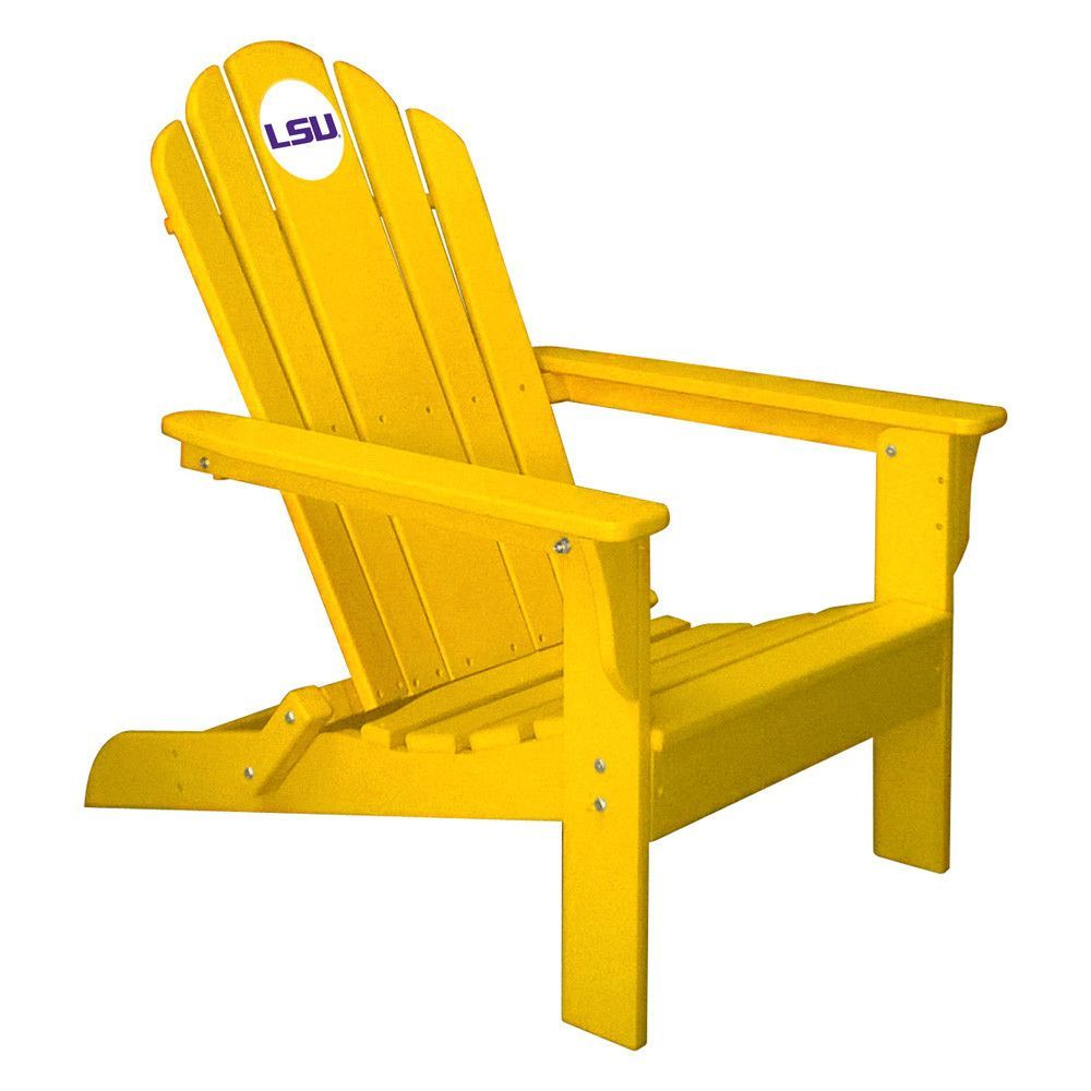 LSU Tigers Folding Composite Adirondack Patio Chair in Yellow