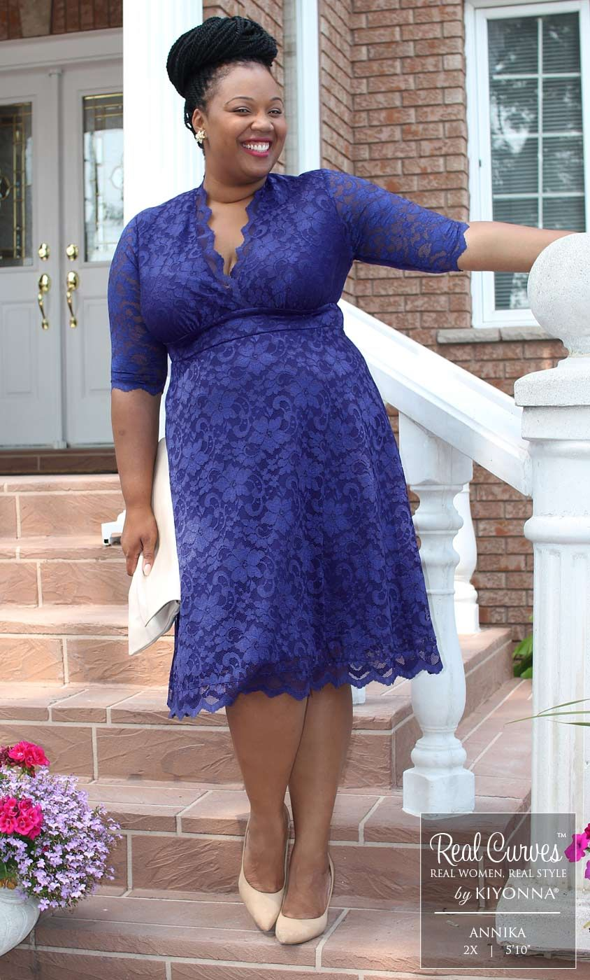 """c9c0e0b01ad Blogger Annika (5 10"""" and a size 2x) shops at Canadian boutique SexyPlus  Clothing and shows off her curves in our plus size Mademoiselle Lace Dress."""