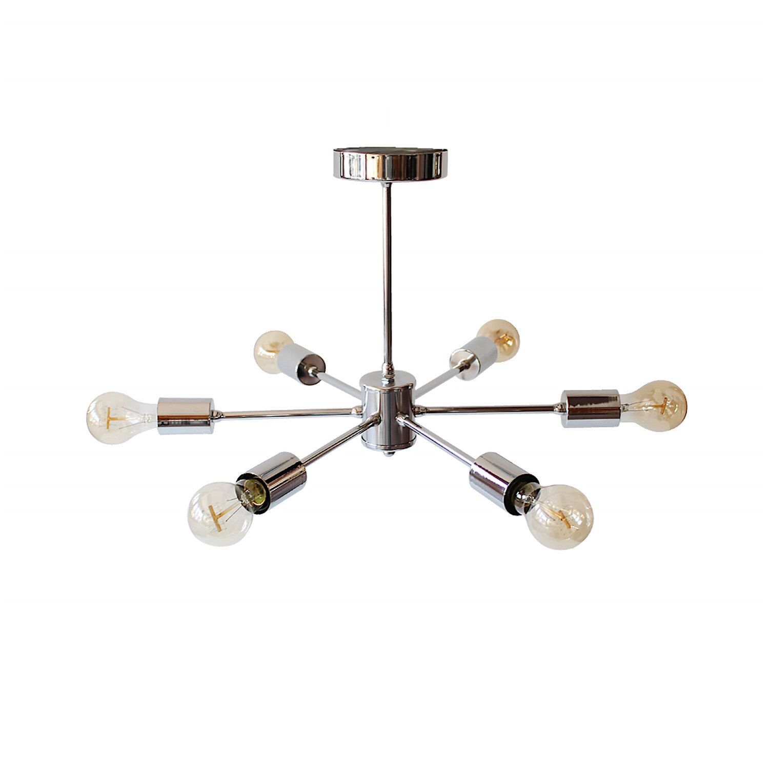Modern Geometric Chrome Ceiling Chandelier 6 Arm Industrial Semi ...