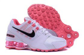 734846e24d71 Womens Nike Shox NZ Hyper Pink White Black Athletic Running Shoes Trainers