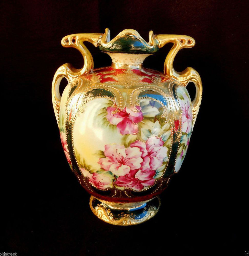 Early nippon porcelain hand painted vase pink floral beading early nippon porcelain hand painted vase pink floral beading gold gilt nippon reviewsmspy