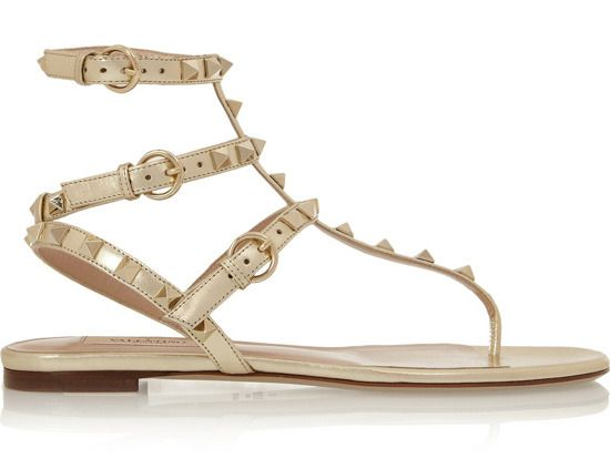 For a beach wedding: Studded metallic leather sandals, Valentino ($895). net-a-porter.com