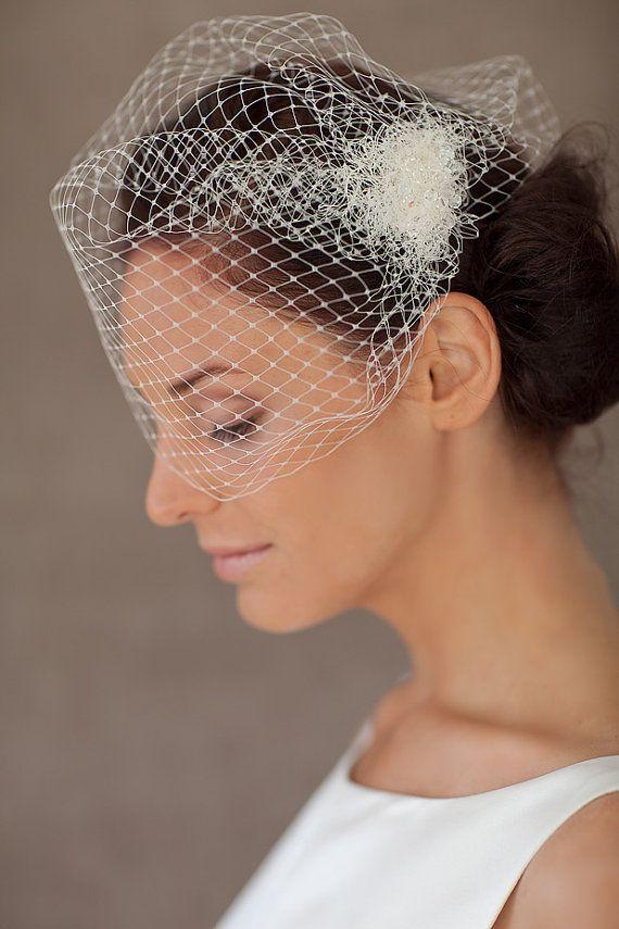 Braut haarschmuck mit schleier  Braut Schleier, Haarschmuck Birdcage Hochzeit, Headpiece -