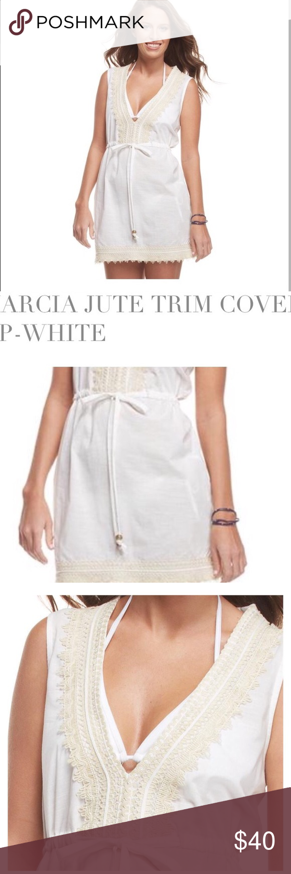 66a0d62d79efc Marcia jute trim cover up-white. Decorative BeadsMud PieJuteLace TrimFeetSwim  CoverNecklineSwimmingShoulder