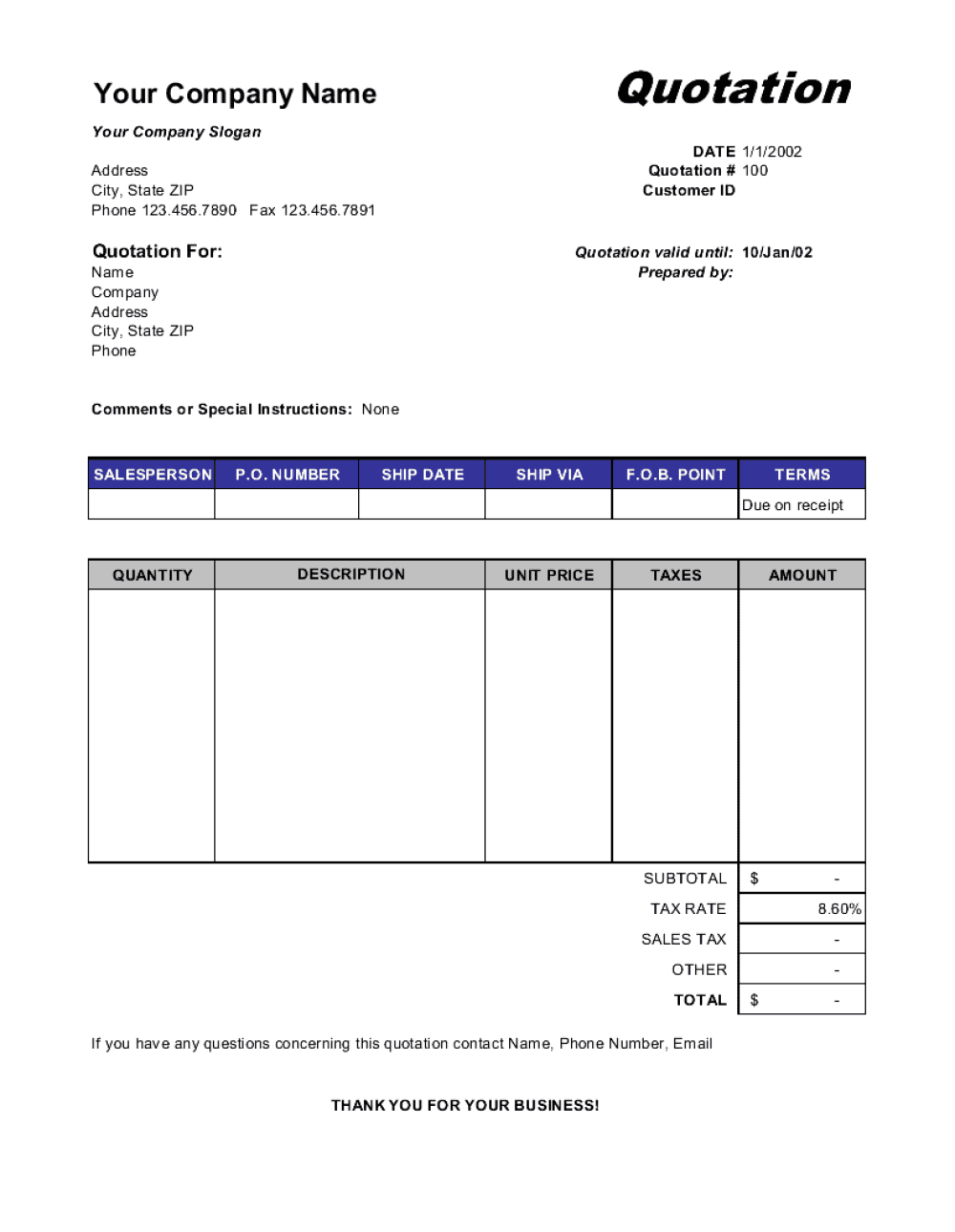 Price Quotation Template By Business In A Box Quotations Quotation Format Quote Template