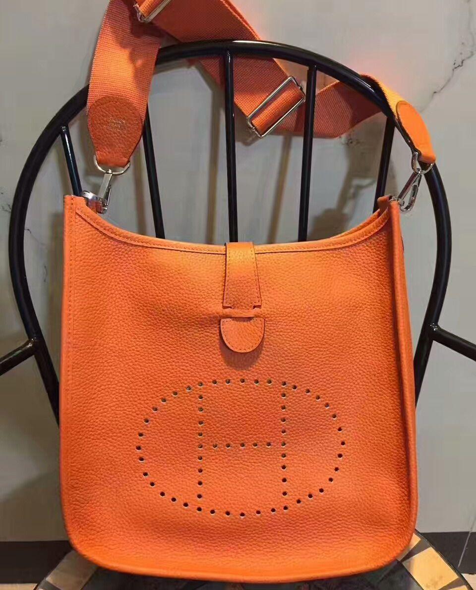 92518167420a Hermes Evelyne Bag Clemence Leather Palladium Hardware In Orange ...