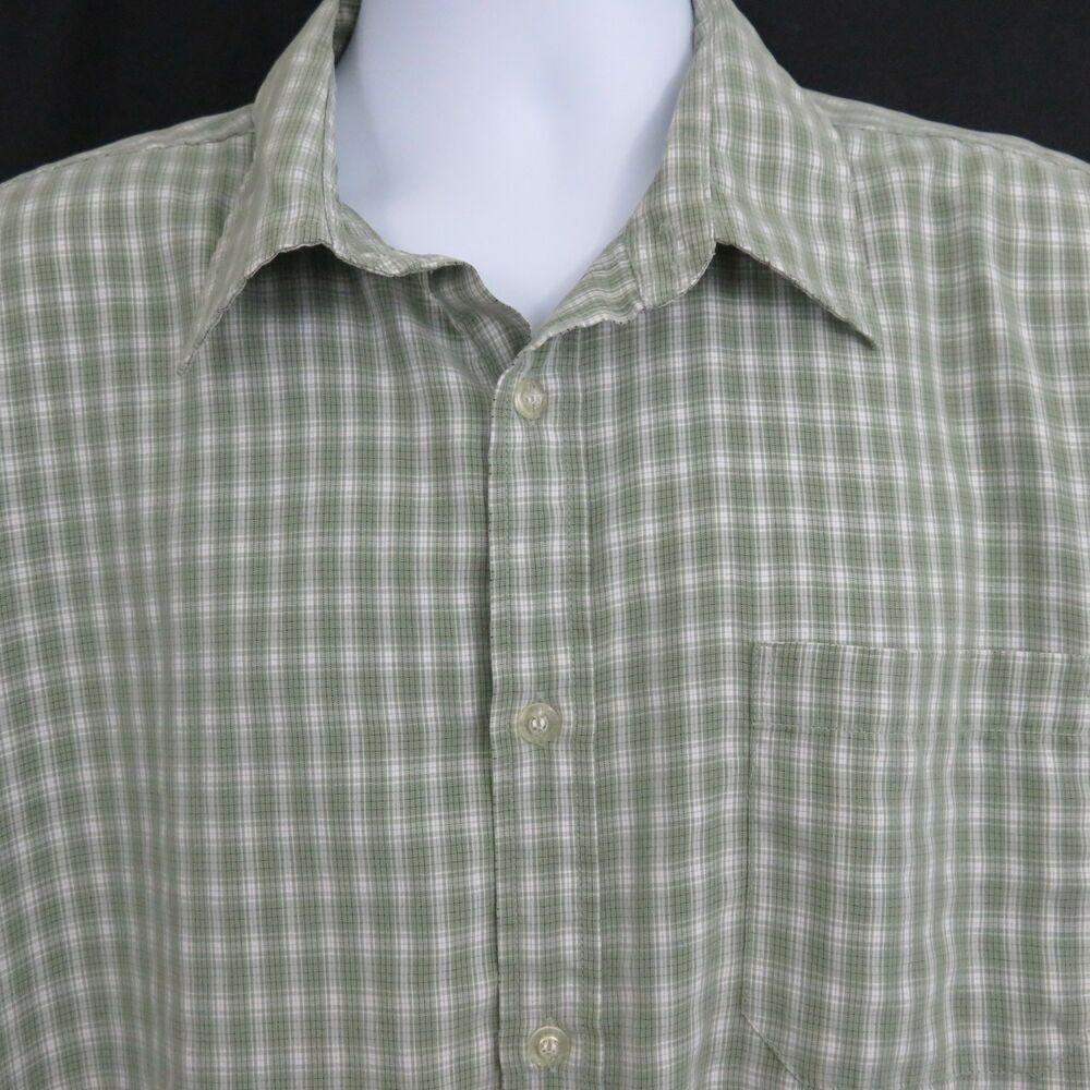 232529e37 Billabong Mens XL Green White Plaid SS Button Front Casual Shirt EUC ...
