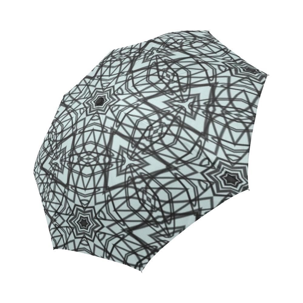 Doodles of black and light blue transformed into a mesmerizing string art  umbrella.