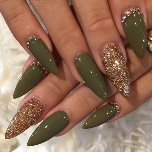 Olive Green Nails The Best Summer Design Of Nails Gold Stiletto Nails Pointed Nails Green Nails