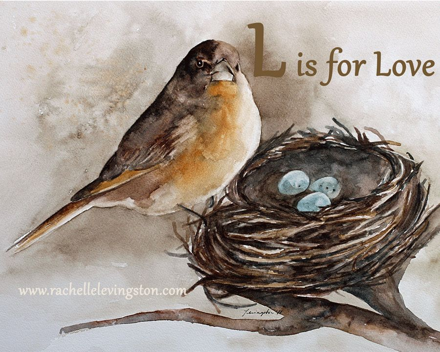 L Is For Love Bird Nest Painting