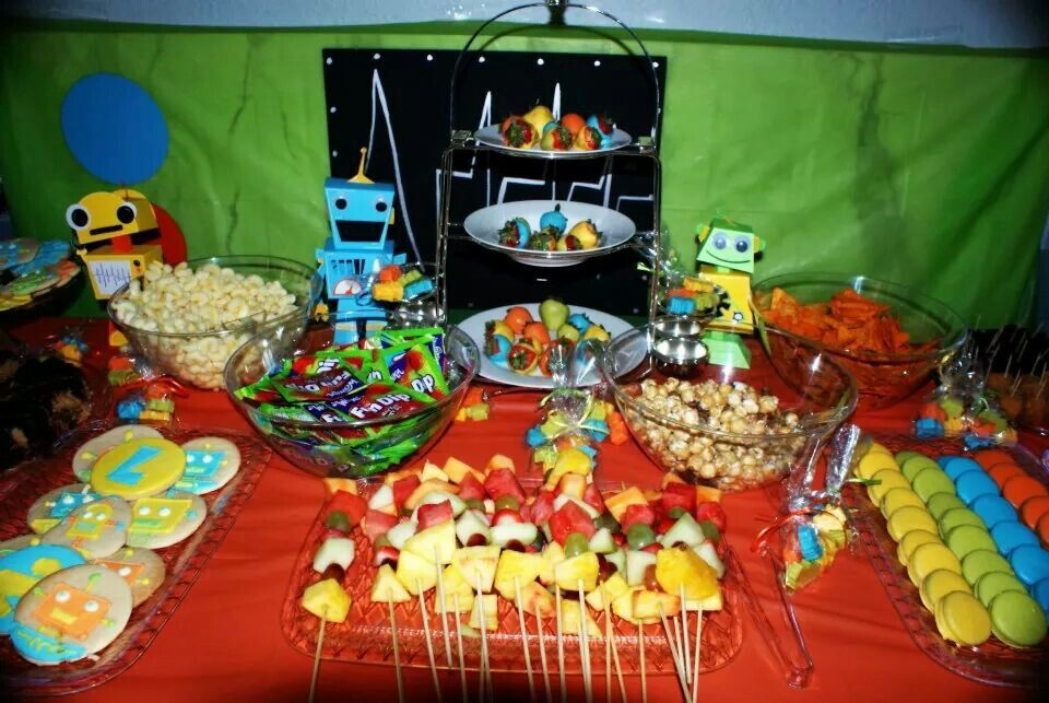 Robot Birthday Party Treats Table by Gwendolyn Calderon with MiaBellaCreationz