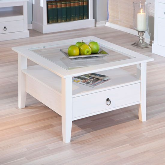 Stanley Square Coffee Table In White With 1 Drawer Tables Living Rooms And Sitting Rooms