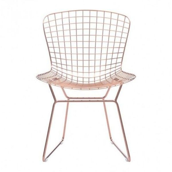 Zuo Modern Wire Dining Chair Rose Gold By ($218) ❤ Liked On Polyvore  Featuring