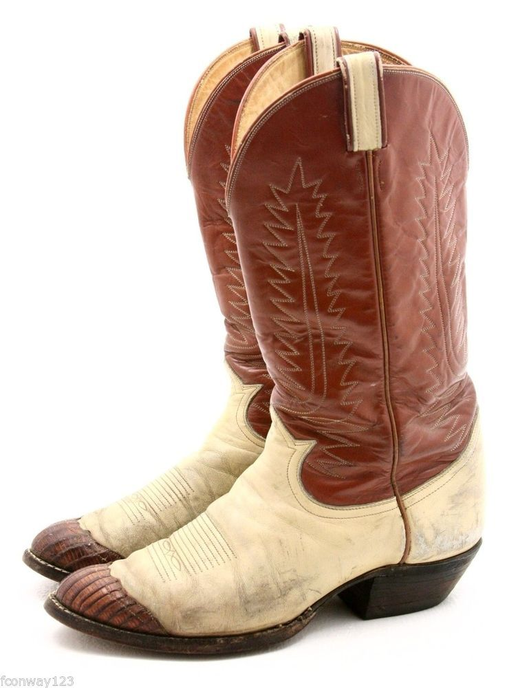 f961ad28acb Details about MENS TONY LAMA BROWN LIZARD SKIN LEATHER COWBOY ...