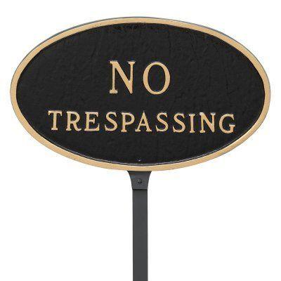 Montague Metal Products No Trespassing Oval Lawn Plaque - SP-1SM-BG-LS, Durable