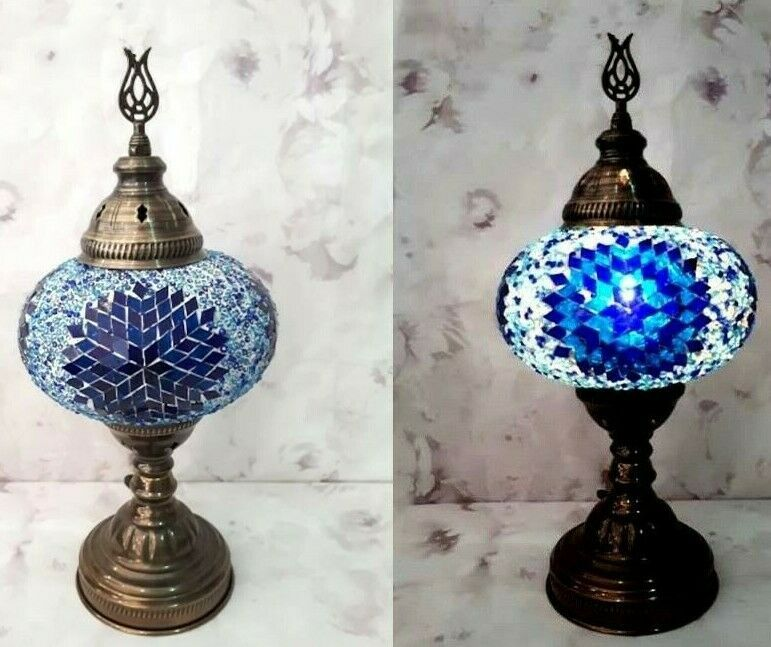 Large Mosaic Lamp Turkish Moroccan Table Glass Handmade Blue White