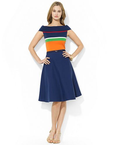 Brands Dresses Petite Striped Off The Shoulder Dress Lord And