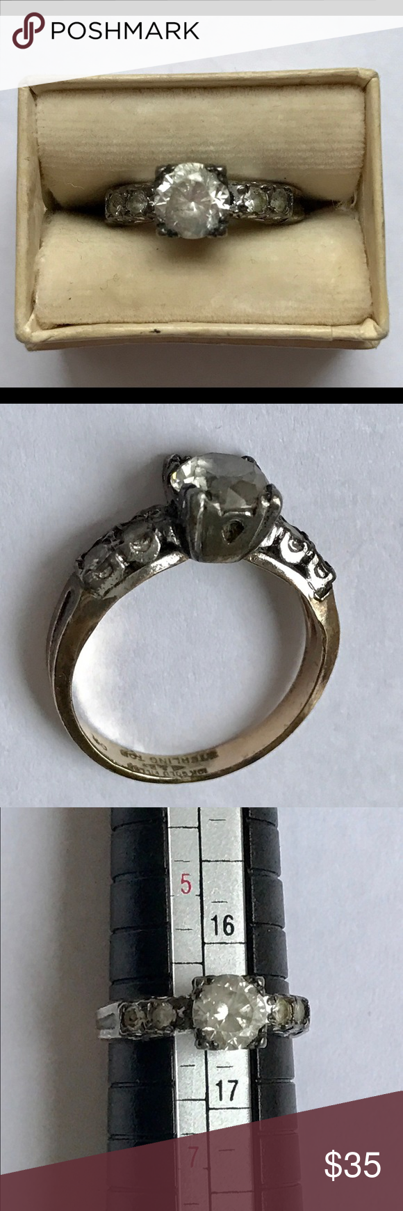 10k Gold Filled On Sterling Silver Cz Ring Size 6 Applied Sterling Silver Top 10k Gold Filled Body By Clar Sterling Silver Cz Rings Silver Tops Vintage Rings