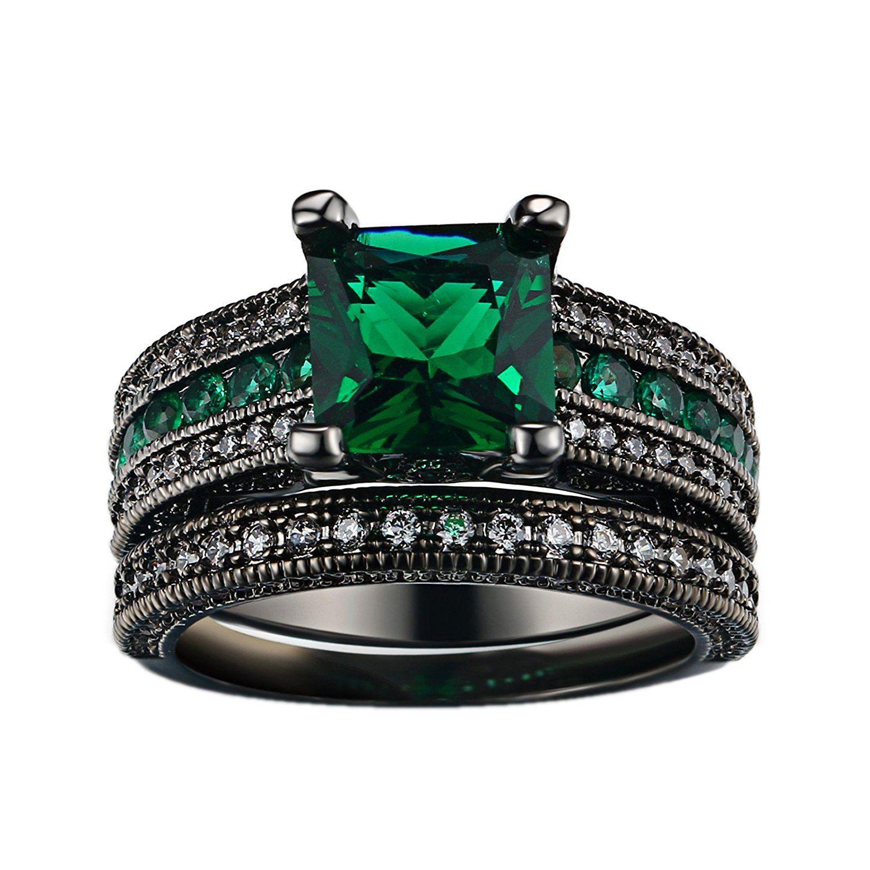 AmazonSmile: D.B.MOOD Black Gold Square Emerald Green Gemstone Women Wedding Engagement Rings Set with Cubic Zirconia: Clothing