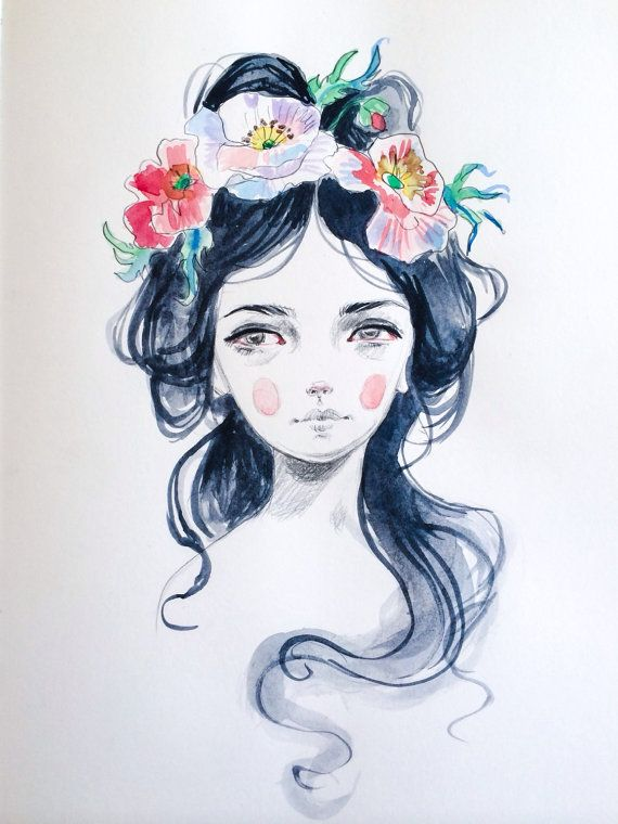 Girl with flower crown drawing - photo#31