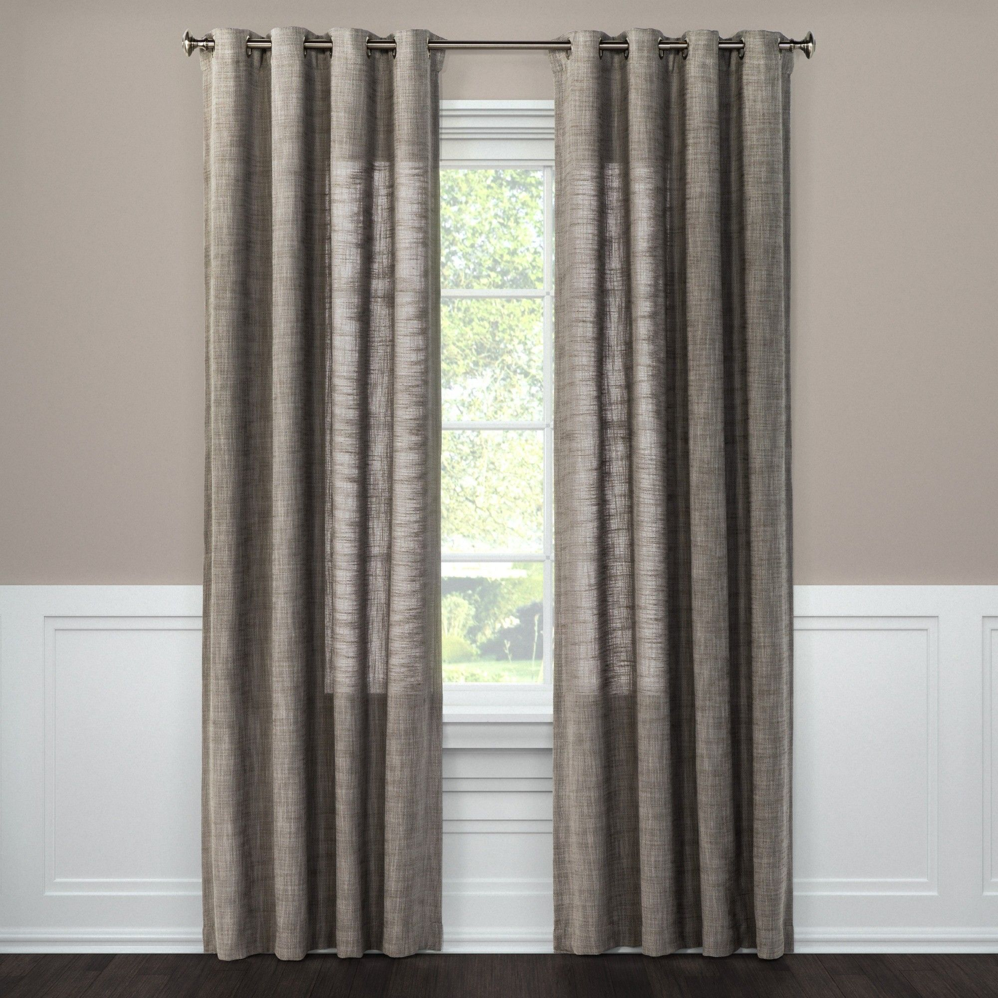 Textured Weave Window Curtain Panel Gray 54 X108 Threshold