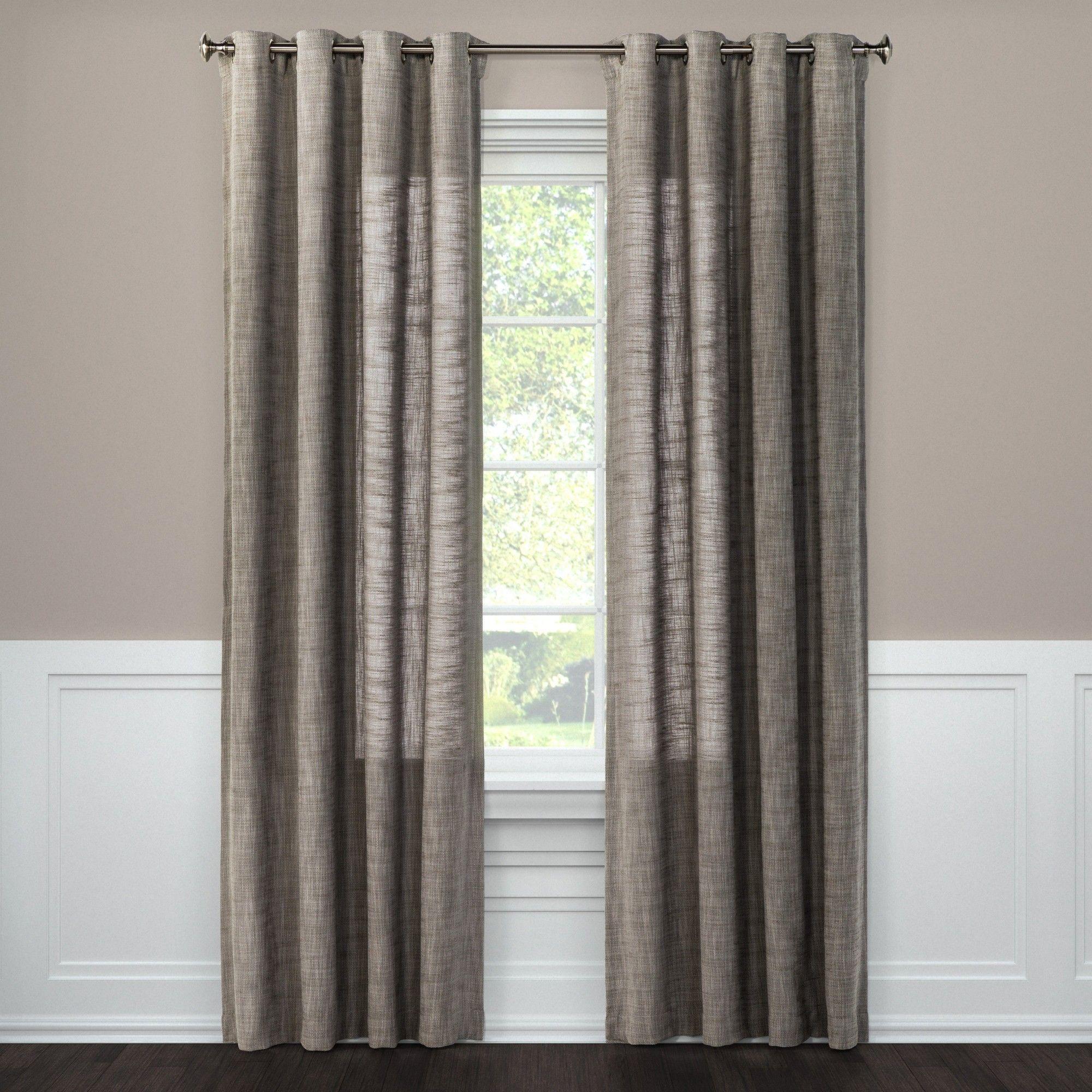 Textured Weave Window Curtain Panel Gray 54 X108 Threshold