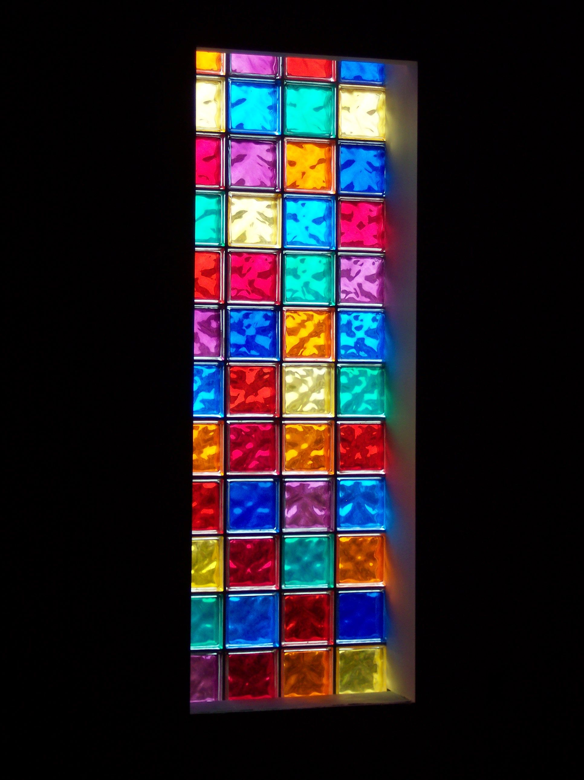 Colored Glass Block Window Would Love This For The Downstairs