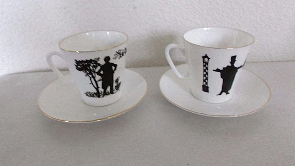 2 Imperial Porcelain 1744 St. Petersburg Lomonosov SILHOUETTE Cups & Saucers #Lomonosov