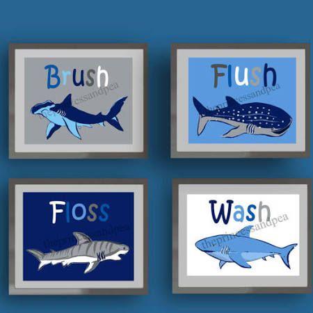 navy blue bathroom art - google search | shark bathroom