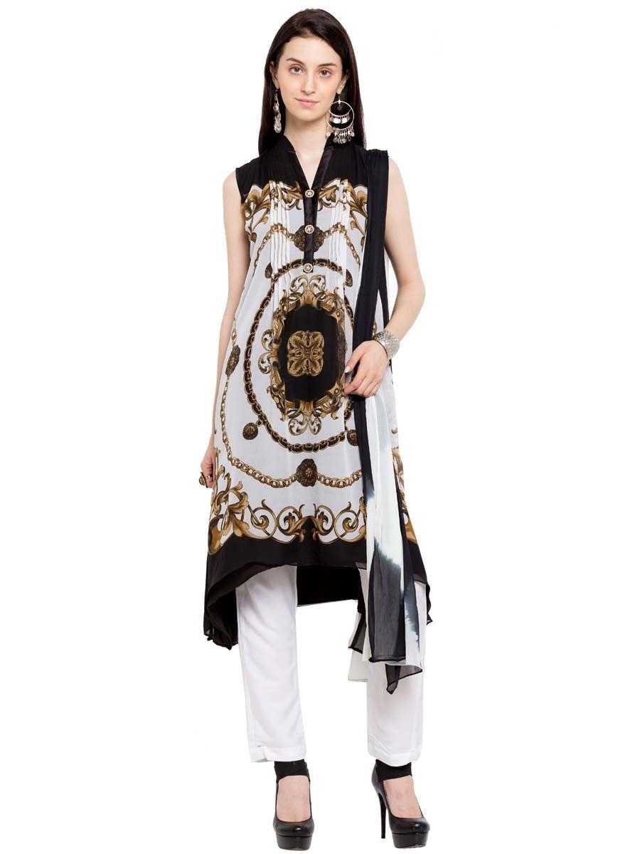 51122972af5960 Ravishing white and black color digital print sleeveless anarkali work.  item Code  SLUM8273S Shop