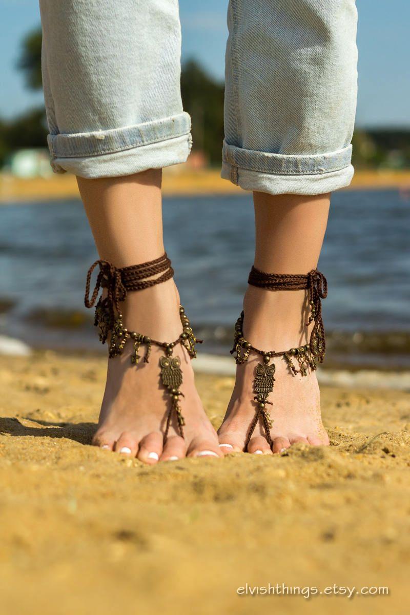 Owl barefoot sandals Beach wedding Foot jewelry barefoot sandal Soleless sandals Boho Bottomless sandals Footless sandals Festival clothing by ElvishThings on Etsy