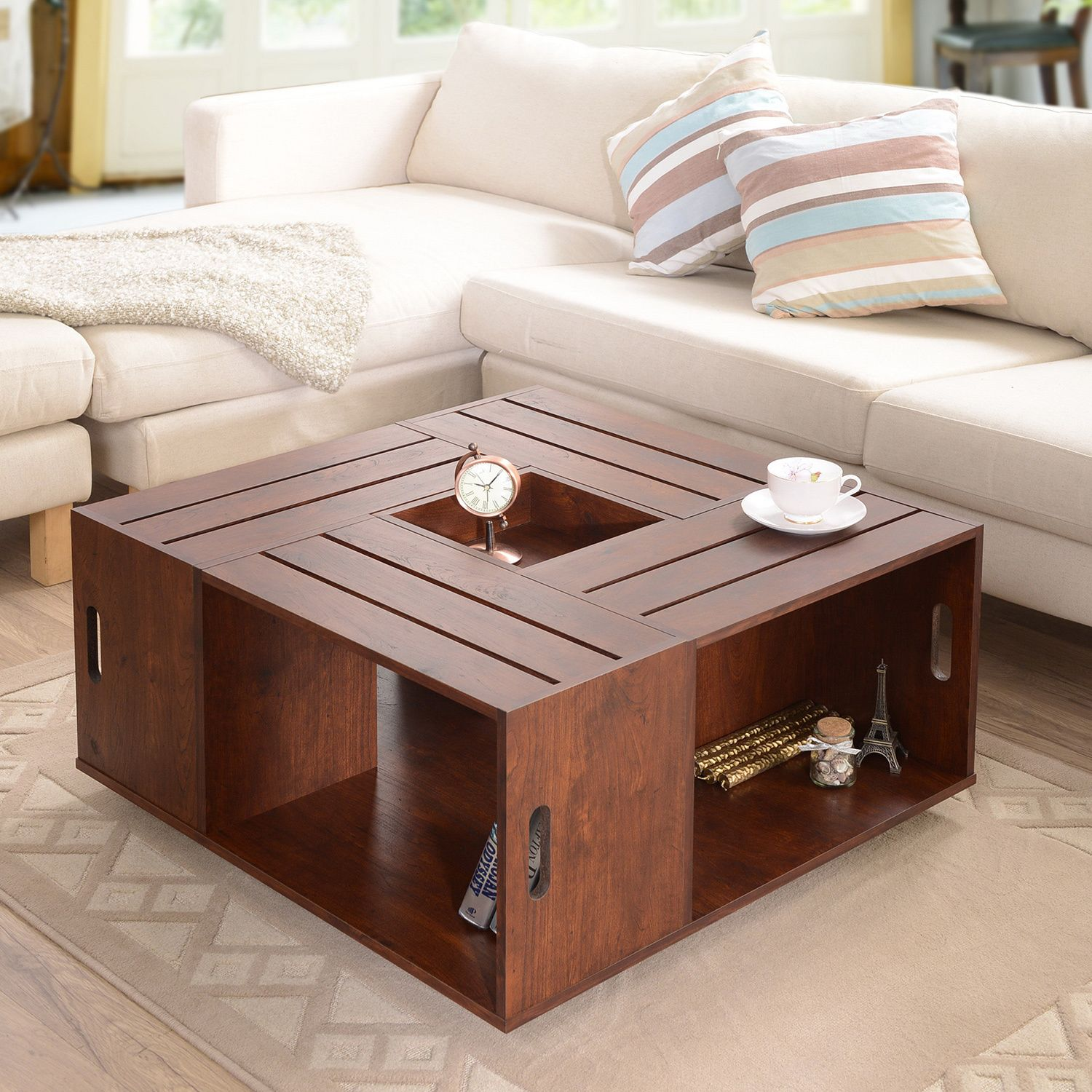 Furniture Of America The Crate Square Coffee Table With Open