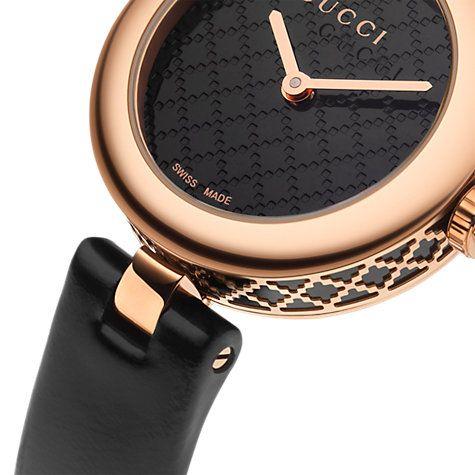 18ec13fd Gucci YA141501 Women's Diamantissima Leather Strap Watch, Black ...