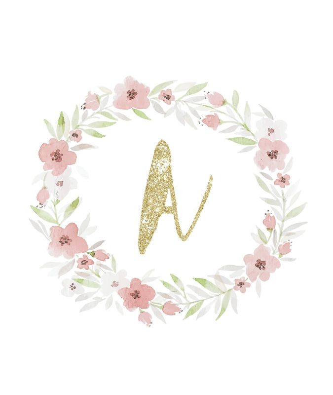 Freebie using watercolor and glitter initial monogram great for