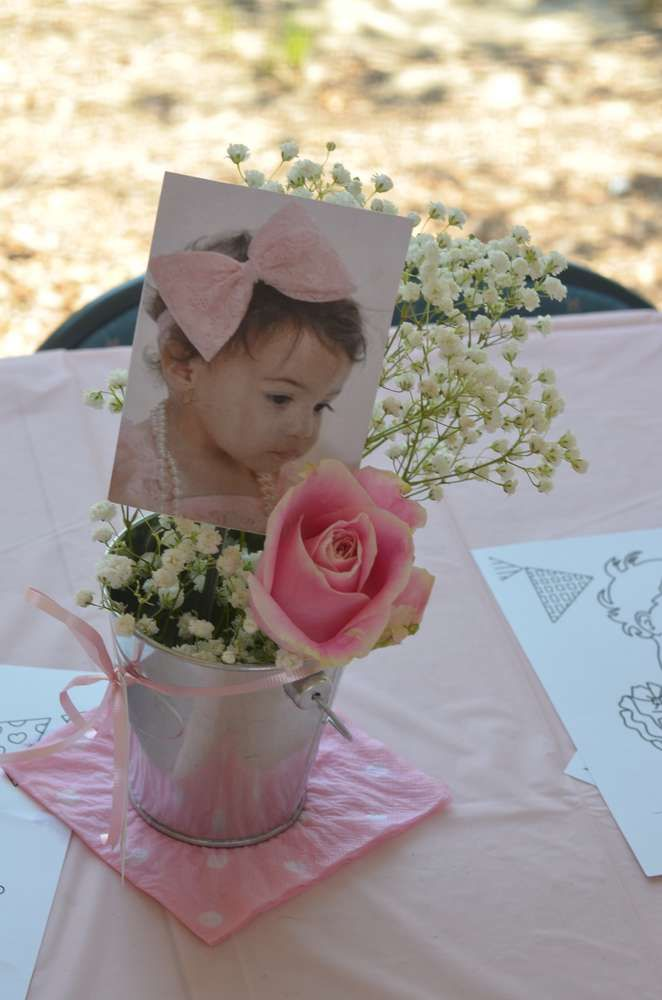 Ruffles And Bows Birthday Party Ideas Photo 1 Of 19 Baptism Party Girl First Birthday Baby First Birthday