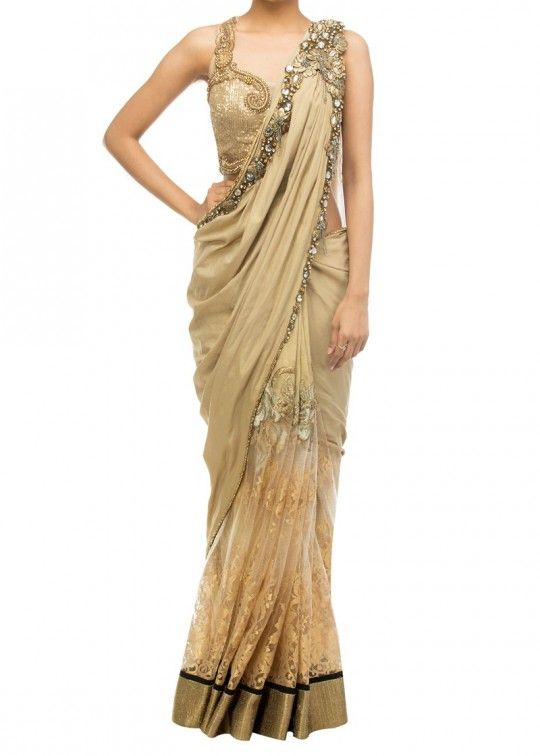 Gold chantilly Saree with embroidered blouse