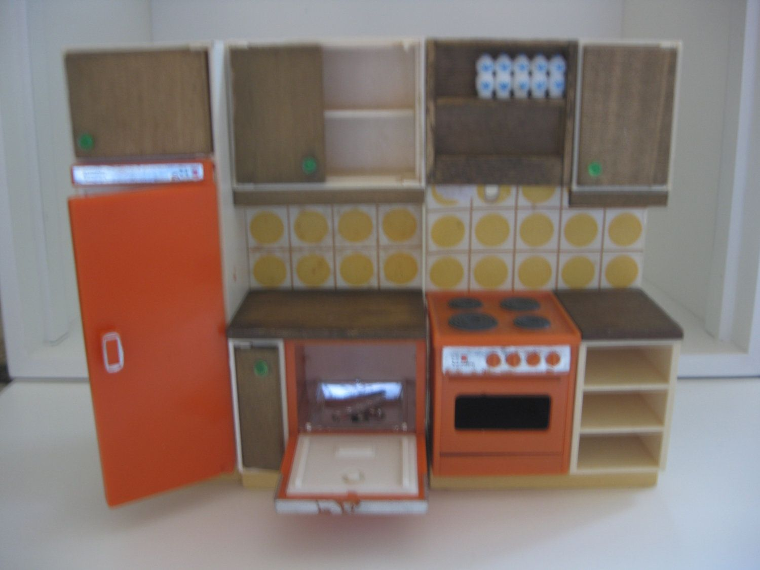 Vintage Dollhouse Furniture For Sale Part - 24: Vintage Lundby Dollhouse Furniture Kitchen Units. $19.99, Via Etsy.