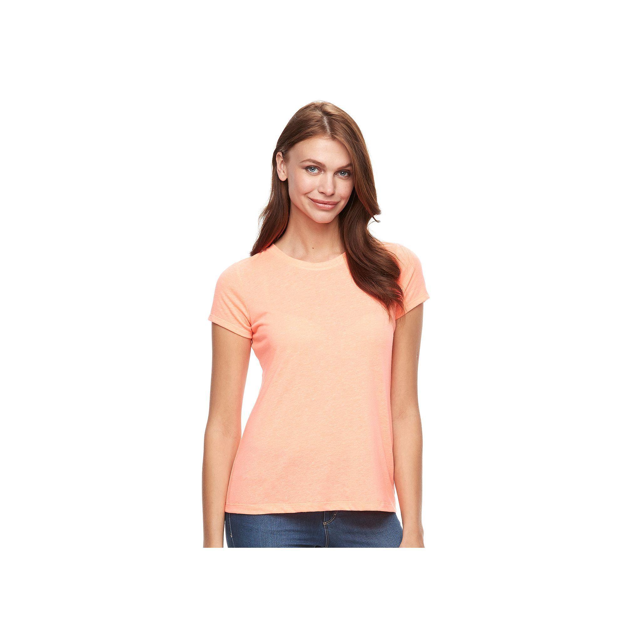 Women's Apt. 9® Essential Marled Crewneck Tee, Size: Medium, Brt Orange