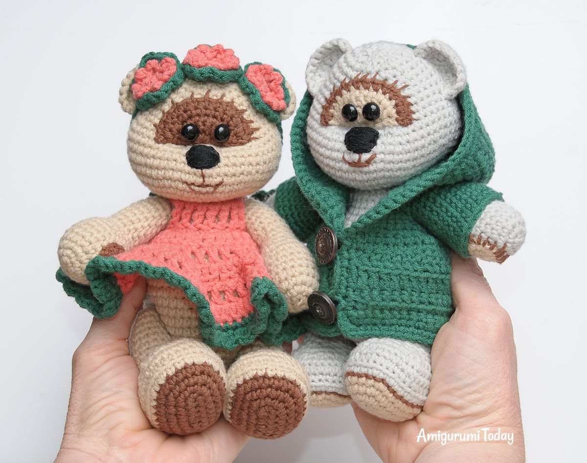 Amigurumi Free Patterns Bear : Honey teddy bears in love: crochet pattern amigurumi teddy bear