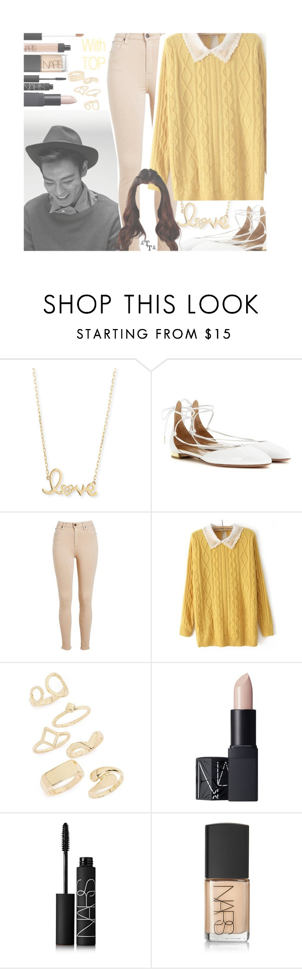 """With T.O.P."" by triple-threat36 ❤ liked on Polyvore featuring Sydney Evan, Aquazzura, Topshop, NARS Cosmetics, bigbang, top, VIP, ChoiSeungHyun and seunghyun"