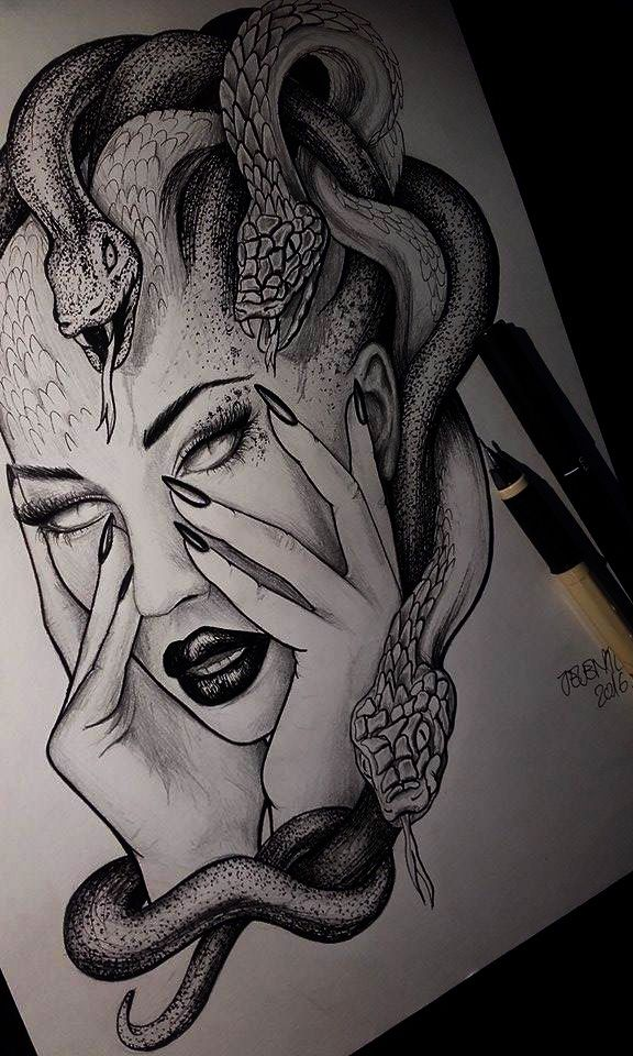 Medusa Illustration Tattoo: Medusa Drawing Illustration Tattoo Idea #jelenalazictattoo
