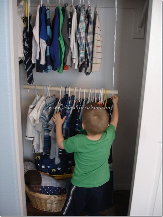 Add Extra Storage To A Closet By Dropping A Dowel Rod Down