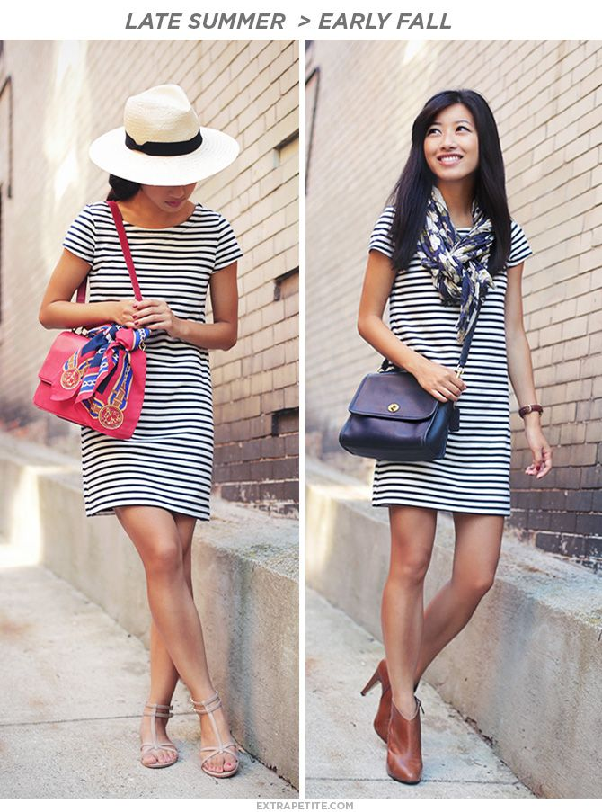 a1fbd617cad Striped Shift Dress. Summer to Fall Look. Pair with sandals and a bright  bag for summer. Pair with booties and a scarf for fall.