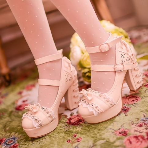 Dolly Sweet Lace Bows Straps High-Heeled Shoes